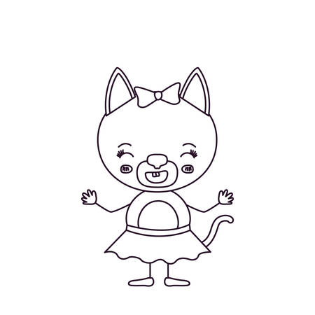 silueta de gato: Sketch silhouette caricature of cute female cat in skir,t with bow lace, with happiness expression and smiling vector illustration. Vectores