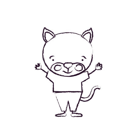Blurred silhouette caricature of cat happiness expression in clothes with hands up vector illustration.