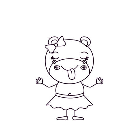 Sketch silhouette caricature of female hippo in skirt with bow lace and sticking out tongue expression vector illustration.