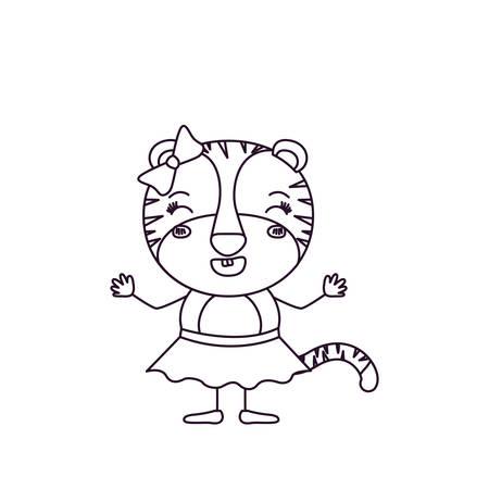silueta de gato: Bosquejo silueta caricatura de tigresa femenina en falda con arco de encaje y sonriente expresión vectorial ilustración Vectores