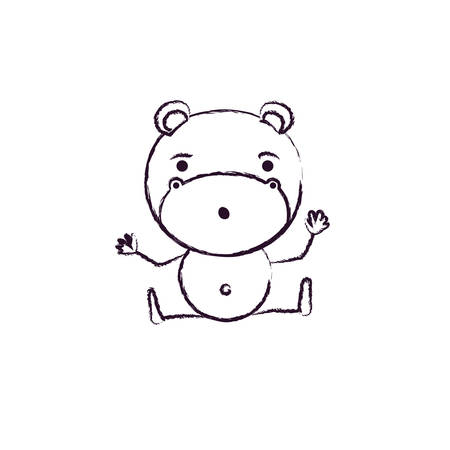 amazed: blurred silhouette caricature of cute hippopotamus surprised expression and sitting in floor vector illustration