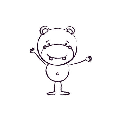 blurred silhouette caricature of cute hippo happiness expression with hands up vector illustration