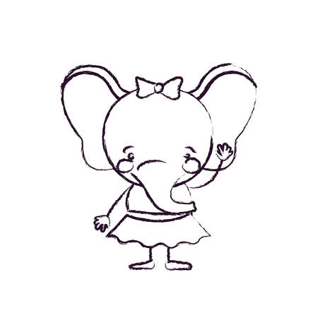 blurred silhouette caricature of cute expression female elephant in skirt with bow lace with waving hand vector illustration