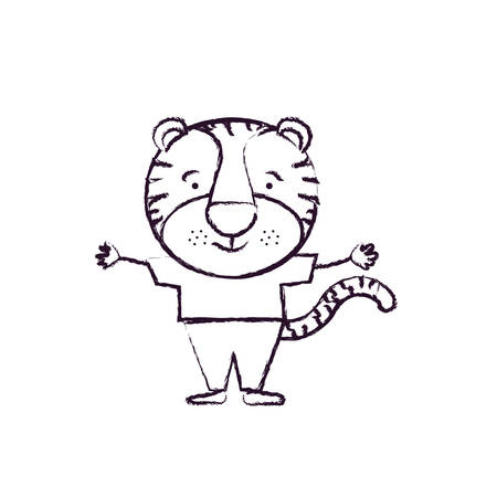 silueta de gato: blurred silhouette caricature of cute tigger happiness expression with hands open in clothes vector illustration