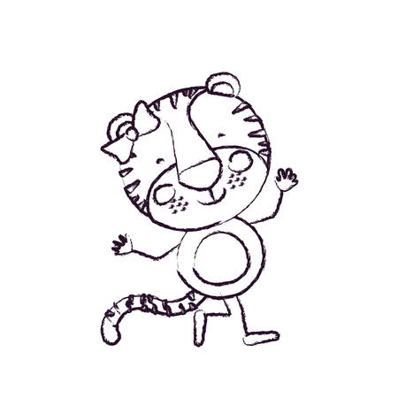 tigress: blurred sketch contour caricature of cute expression female tigress in dance pose with bow lace vector illustration