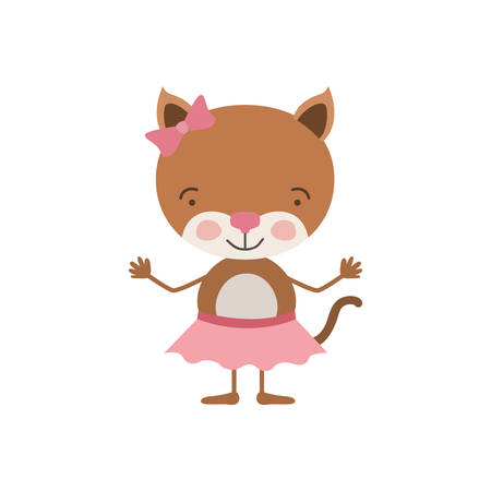 colorful caricature of cute expression female kitten in skirt with bow lace vector illustration