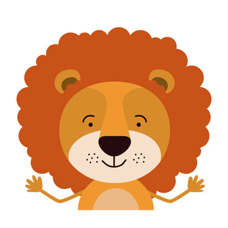 colorful half body caricature of cute lion happiness expression vector illustration 向量圖像