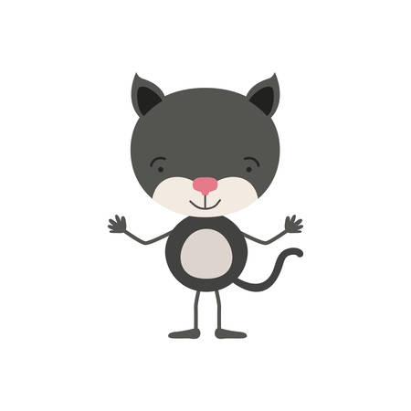 colorful caricature of cute kitten tranquility expression vector illustration Illustration