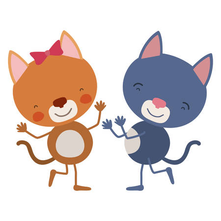 colorful caricature with couple of kittens dancing vector illustration
