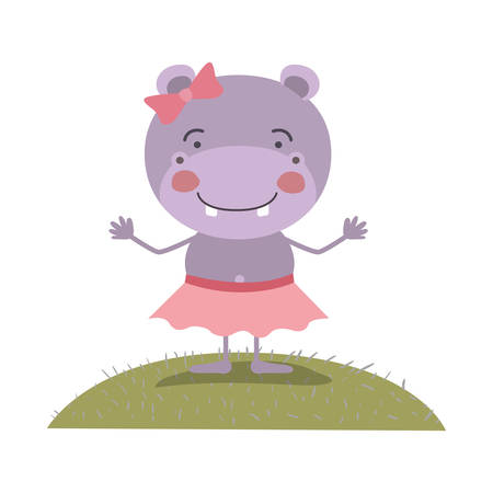colorful scene sky landscape and grass caricature cute expression hippo in skirt with bow lace vector illustration