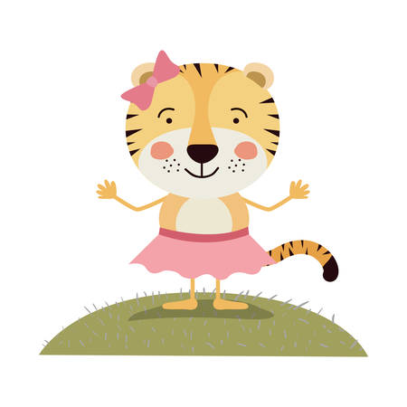 tigress: colorful scene sky landscape and grass caricature cute expression tigress in skirt with bow lace vector illustration