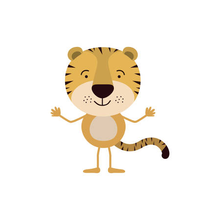 colorful caricature of cute tiger happiness expression vector illustration