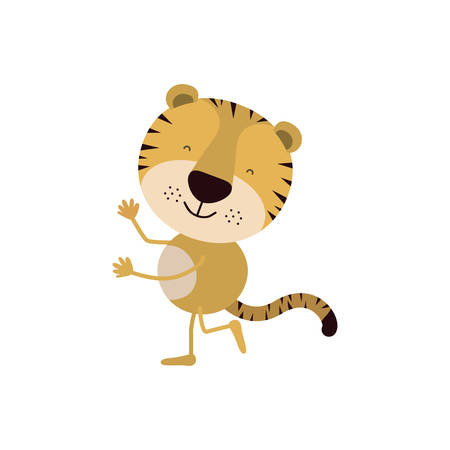 colorful caricature with cute tiger dancing vector illustration
