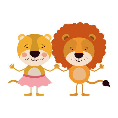 lioness: colorful caricature with couple of lioness holding hands vector illustration