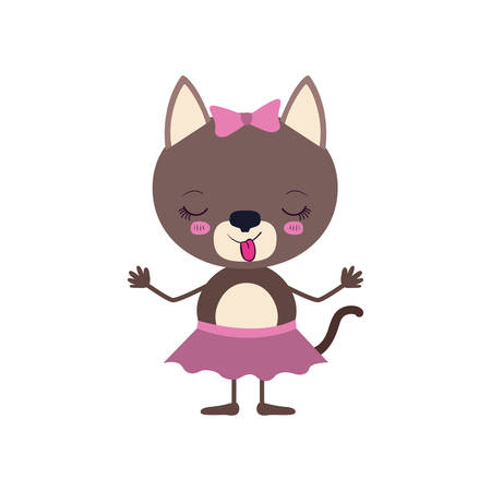 colorful caricature of disgust expression female cat in skirt with bow lace and sticking out tongue vector illustration