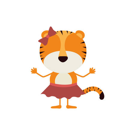 colorful caricature fasceless female tigress in skirt with bow lace vector illustration