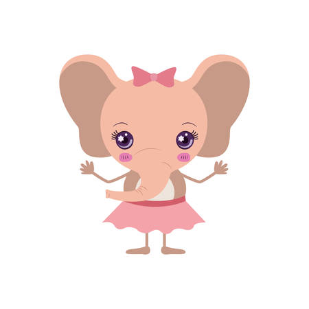 colorful caricature of cute expression female pink elephant in skirt with bow lace vector illustration