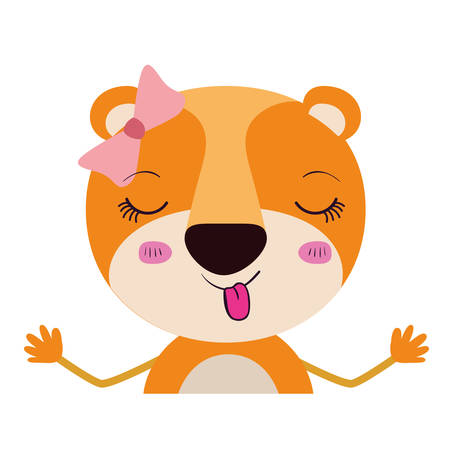 colorful caricature half body of wink eyes expression female lioness with bow lace and sticking out tongue vector illustration