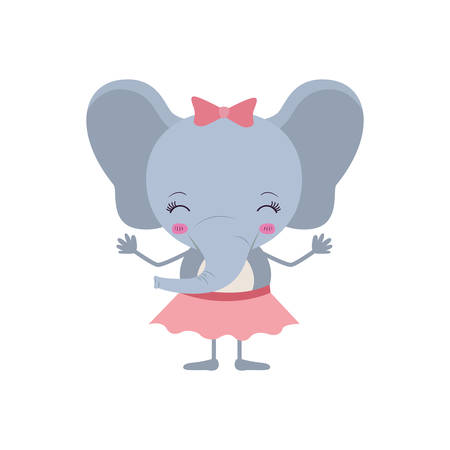 colorful caricature of cute happines expression female elephant in skirt with bow lace vector illustration Illustration