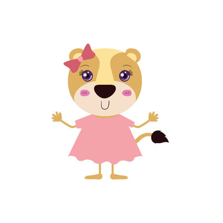 lioness: colorful caricature of cute happiness expression female lioness in dress with bow lace vector illustration Illustration