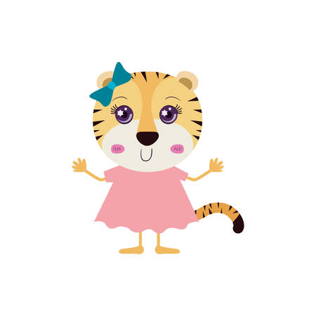 tigresa: colorful caricature of cute happiness expression female tigress in dress with bow lace vector illustration