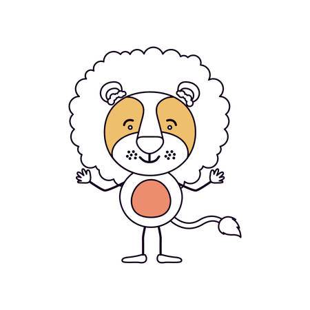 silhouette color sections caricature of cute lion happiness expression with hands up vector illustration Illustration