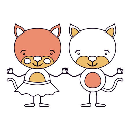 silhouette color sections caricature with couple of cats holding hands vector illustration