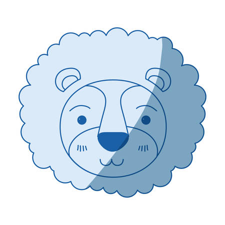 blue color shading silhouette cute face of lion tranquility expression with mane vector illustration