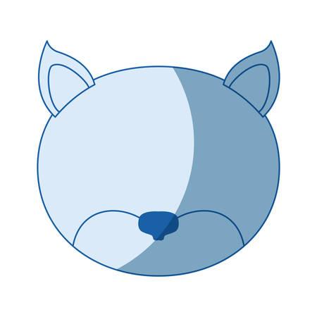 青い色の網かけシルエット猫ベクトル イラストの顔  イラスト・ベクター素材