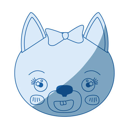 silueta de gato: blue color shading silhouette face of female cat animal happiness expression vector illustration Vectores