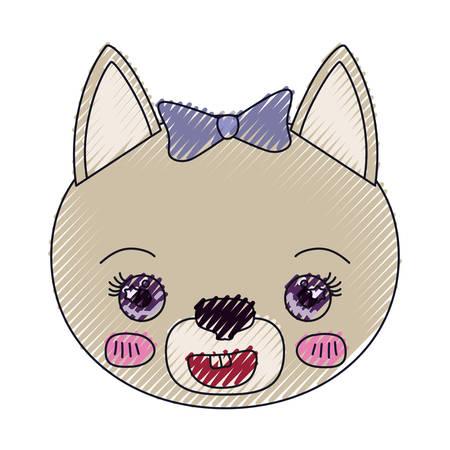silueta de gato: color crayon silhouette face of female cat animal happiness expression vector illustration