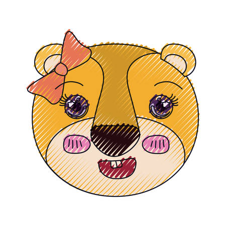 brow: color crayon silhouette cute face of lioness happiness expression with bow lace vector illustration