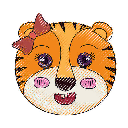 tigress: color crayon silhouette face of female tigress animal with bow lace vector illustration Illustration