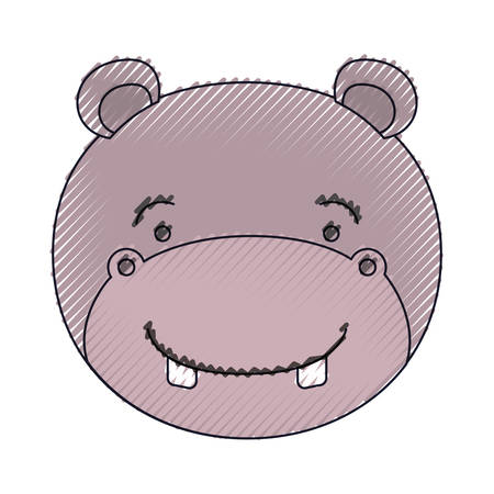 color crayon silhouette face of male hippo animal happiness expression vector illustration