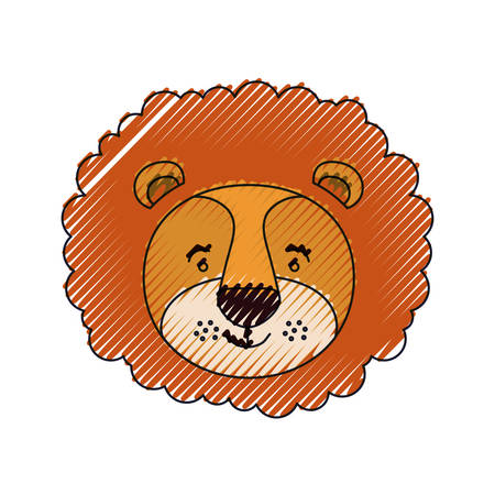 color crayon silhouette face of male lion animal happiness expression vector illustration