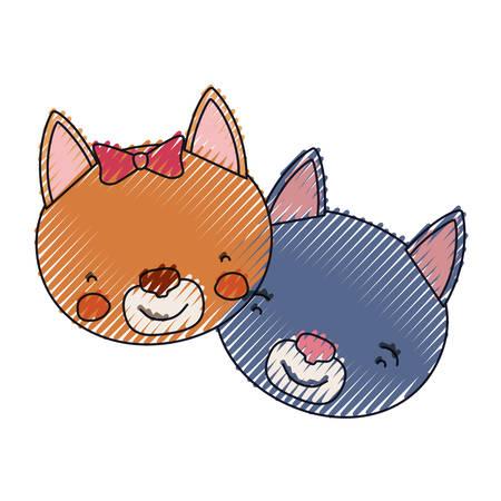 silueta de gato: color crayon silhouette faces of cat couple animal happiness expression vector illustration Vectores
