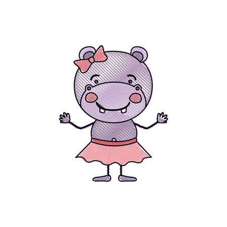 color crayon silhouette caricature of cute expression female hippo in skirt with bow lace vector illustration Illustration