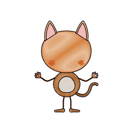 A color crayon silhouette caricature faceless of cat animal vector illustration. Vectores