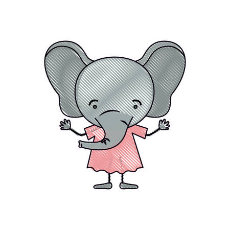 color crayon silhouette caricature of cute elephant in dress vector illustration