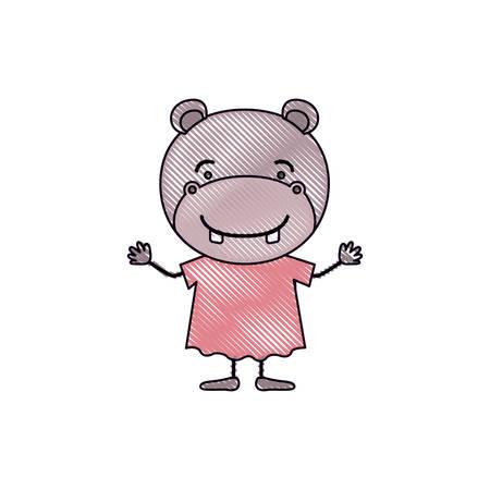 brow: color crayon silhouette caricature of cute hippopotamus in dress vector illustration