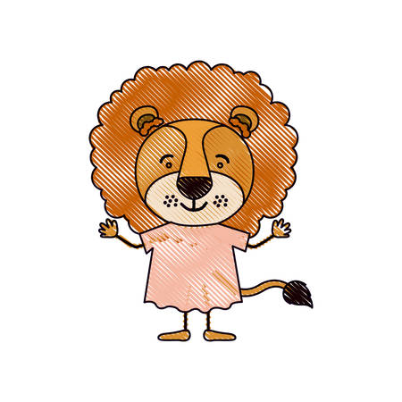 color crayon silhouette caricature of cute lion in dress vector illustration