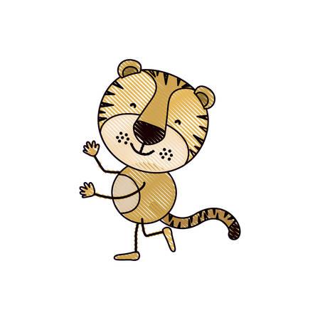 silueta de gato: color crayon silhouette caricature with cute tiger dancing vector illustration
