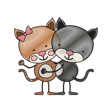 embraced: color crayon silhouette caricature with couple of kittens embraced vector illustration