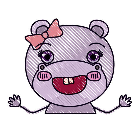 color crayon silhouette caricature half body of female hippo smiling with bow lace vector illustration
