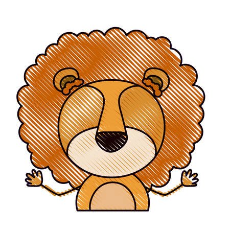 color crayon silhouette caricature half body faceless of cute lion animal vector illustration