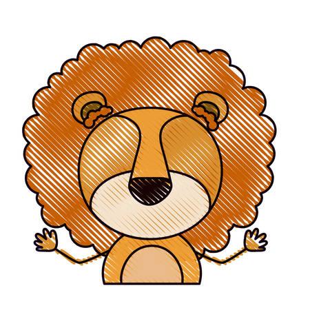 color crayon silhouette caricature half body faceless of cute lion animal vector illustration