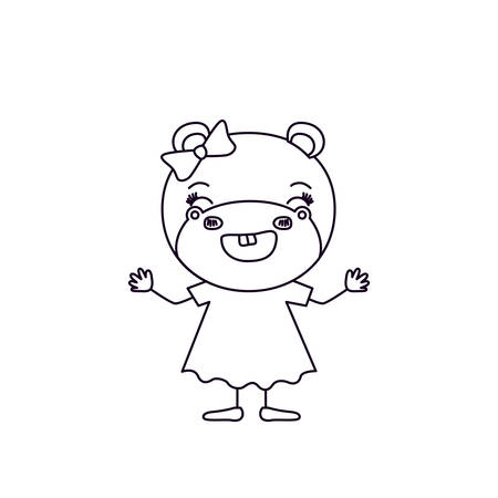 sketch silhouette caricature of happiness expression female hippo in dress with bow lace vector illustration