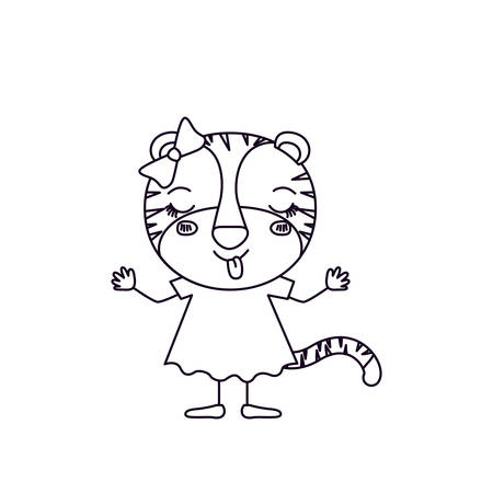 tigress: sketch silhouette caricature of female tigress in dress with bow lace and eyes closed expression of happiness vector illustration