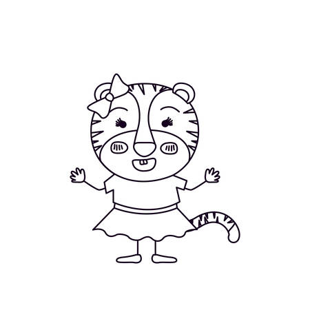 silueta de gato: sketch silhouette caricature of female tigress in clothes with bow lace and smiling expression vector illustration