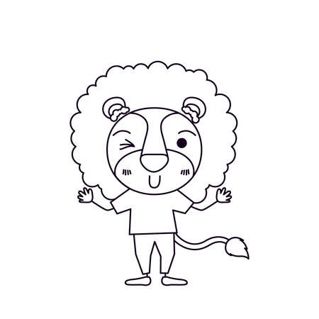silueta de gato: sketch silhouette caricature of cute lion in clothes and wink eye expression vector illustration